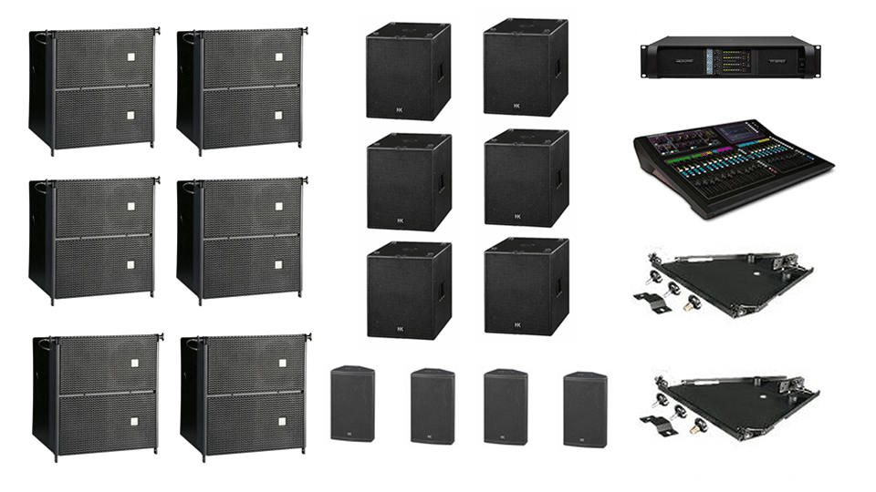 PA Hire Package 8, 6 HK Audio CTA208 Speakers, 4 HK Audio CT118 Sub's, 4 HK audio CT115 Monitors, 1 Allen and Heath GLD-80 Mixer, powered by Lab.Gruppen FP Series with microphones, DI Boxes and cabling included.